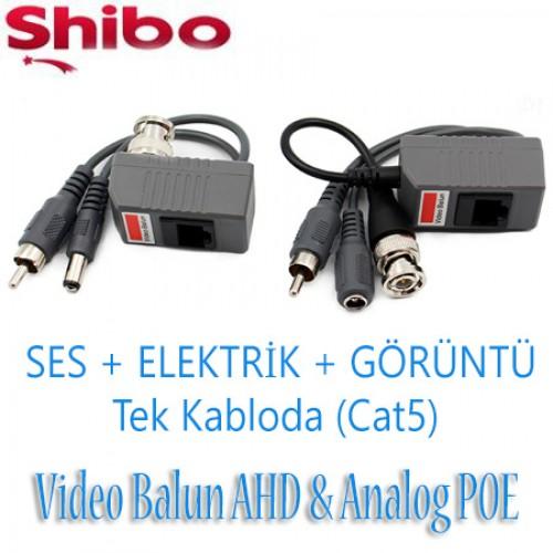 Shibo Video POE Balun CCTV Kablo Yerine Cat5 Cat6 Kullanın